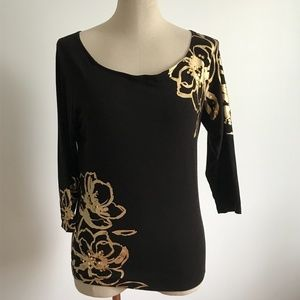 Cache -  Black tee with gold floral print